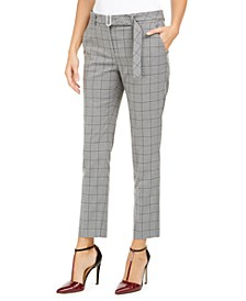 Petite Windowpane-Print Belted Pants