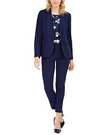 Collarless Blazer, Floral-Print Pleated Top &  Straight-Leg Pants