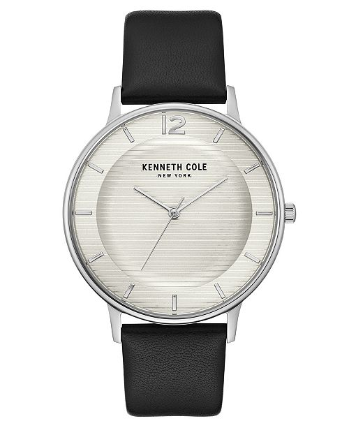 Kenneth Cole New York Men's Black Genuine Leather Strap Watch, 41mm
