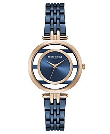 Women's Blue Stainless Steel Bracelet Watch, 33mm