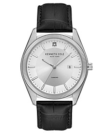 Men's Black Genuine Leather Strap Watch, 41mm