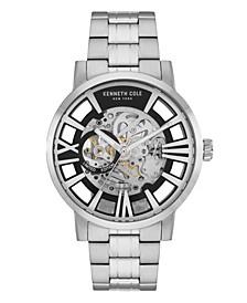 Men's Silver-Tone Stainless Steel Bracelet Watch, 46mm