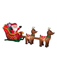 12.5 ft. Inflatable Santa in Sleigh with Reindeer