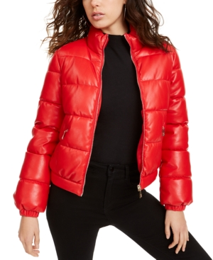 Guess Coats VALETTA FAUX-LEATHER PUFFER COAT