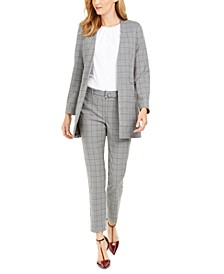 Petite Windowpane-Print Jacket, Pleated Top & Belted Pants