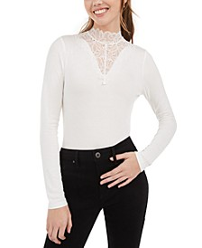 Juniors' Illusion Lace Mock-Neck Top, Created For Macy's