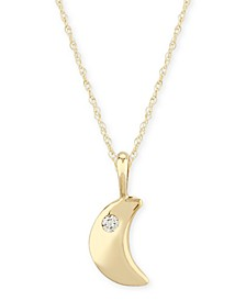 Diamond Accent Solid Cresent Moon Pendant in 14K Yellow Gold