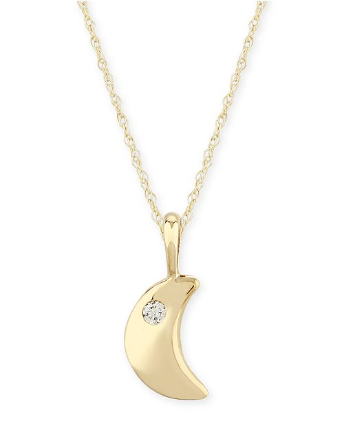 Macy's Diamond Accent Solid Cresent Moon Pendant in 14K Yellow Gold