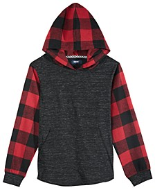 Big Boys Lewiston Colorblocked Mix-Media Hooded Shirt