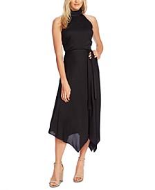 Sleeveless Mock-Neck Handkerchief-Hem Dress