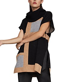 Colorblocked Poncho Sweater