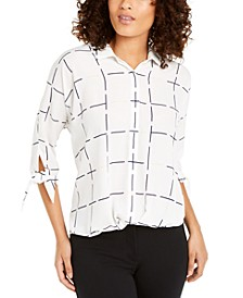 Petite Printed Tie-Cuff Top, Created For Macy's
