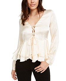Elle Peplum Lace-Up Top