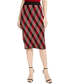 Anne Klein Plaid Pull-On Skirt