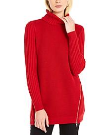 INC Zipper-Trim Tunic Sweater, Created For Macy's