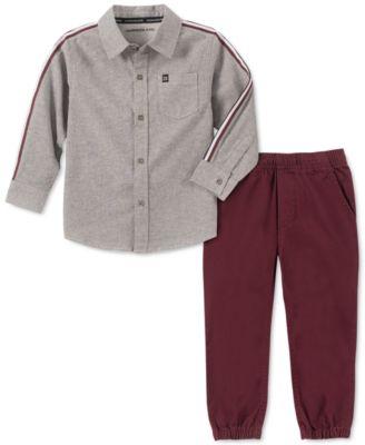 Little Boys 2-Pc. Cotton Chambray Shirt & Jogger Pants Set