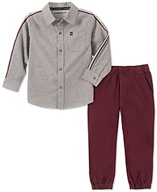 Toddler Boys 2-Pc. Cotton Chambray Shirt & Jogger Pants Set