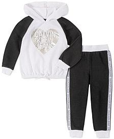 Calvin Klein Little Girls 2-Pc. Logo Fleece Hoodie & Jogger Pants Set