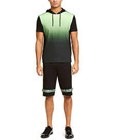 INC Men's Regular-Fit Dip-Dyed Graffiti Tape Hooded T-Shirt & Drawstring Shorts, Created for Macy's
