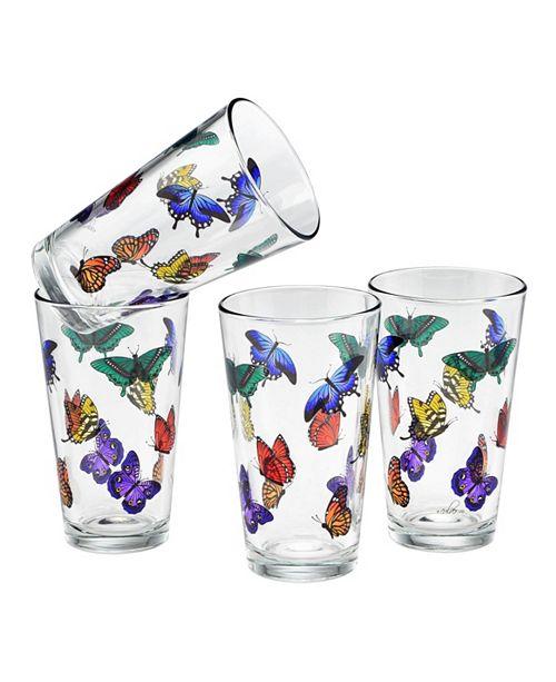 Culver Butterflies Pint Glass 16-Ounce Set of 4