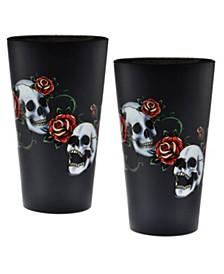 Skull & Rose Pint Glass 16-Ounce Set of 2