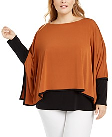 Plus Size Layered-Look Poncho Top, Created For Macy's