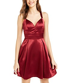 Juniors' Satin Illusion-Back Dress