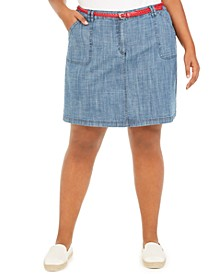 Plus Size Belted Chambray Skort, Created For Macy's
