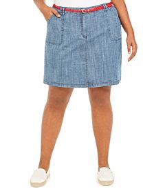 Karen Scott Plus Size Belted Chambray Skort, Created for Macy's