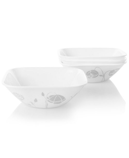 Corelle Boutique 22 Ounce Bowl Night Blooms Grey 4 Pack