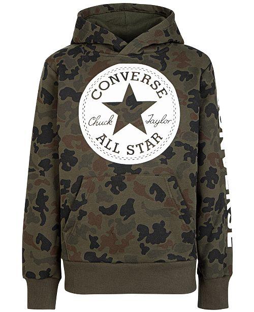 Converse Big Boys Camouflage Chuck Patch Fleece Logo Hoodie