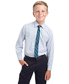 Big Boys 2-Pc. Regular-Fit Plaid Dress Shirt & Stripe Tie Set