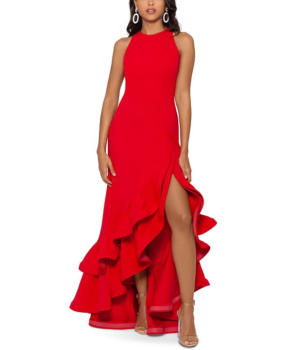 Betsy & Adam Tiered Ruffles Scuba Crepe Gown