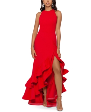 Tiered Ruffles Scuba Crepe Gown