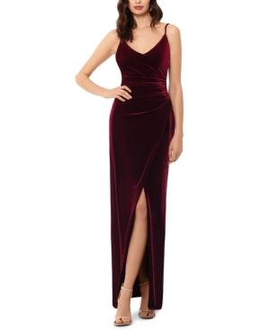 Draped Velvet Slit Gown