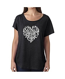 Women's Dolman Cut Word Art Shirt - Love