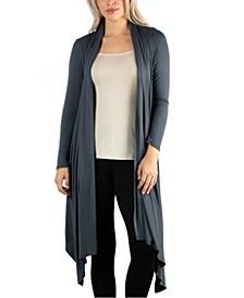 Long Sleeve Knee Length Open Cardigan