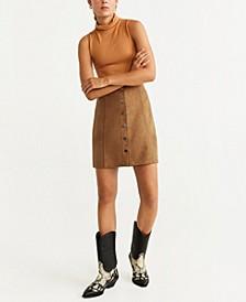 Faux Suede Button Front Miniskirt