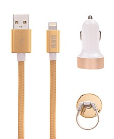 Fashion Car Accessory Set- Includes: CAR Charger, Charging Cable, AIR-Vent Ring Stand