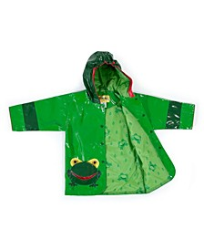 Little Boy with Comfy Frog Raincoat