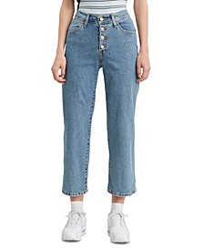 Mile High Cropped Button-Fly Jeans