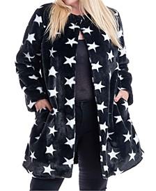 Plus Size Star-Print Faux-Fur Coat