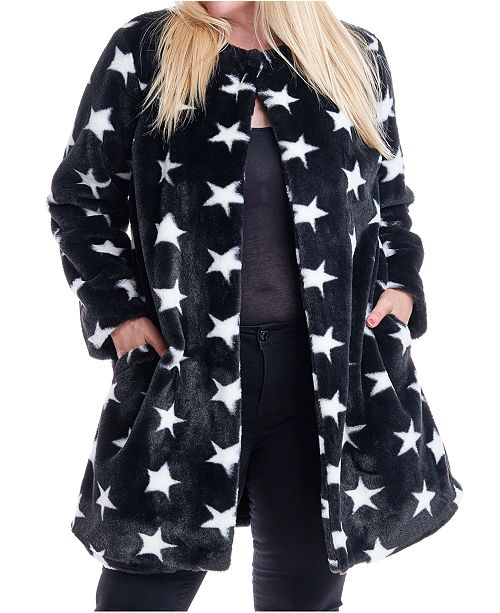 Fever Plus Size Star-Print Faux-Fur Coat