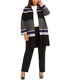Plus Size Striped Open-Front Cardigan