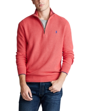 Polo Ralph Lauren Regular Fit Cotton Mesh Quarter Zip Pullover In Rosette Heather