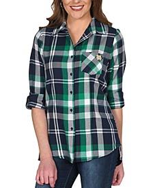 UG Apparel Women's Notre Dame Fighting Irish Flannel Boyfriend Plaid Button Up Shirt