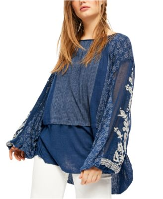 STUDIO WEST Apparel Womens PLUS Blue Embroidered L//S TUNIC Top 1X NWT