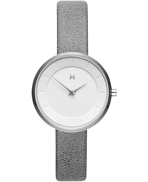 MVMT Women's Mod S1 Gray Leather Strap Watch 32mm