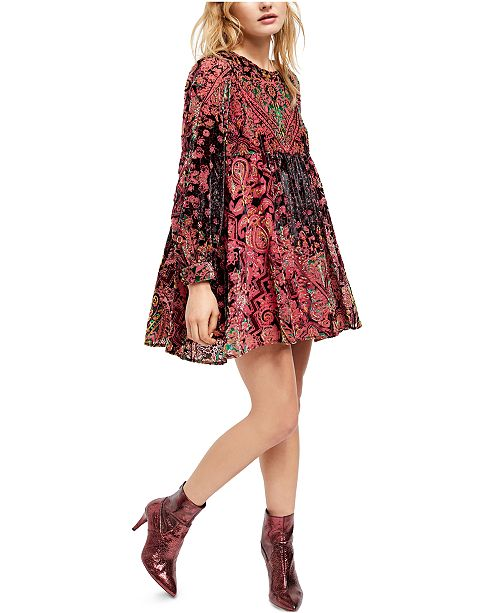 Free People Mirror Mirror Velvet Mini Dress