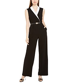 Colorblocked Notch-Collar Jumpsuit